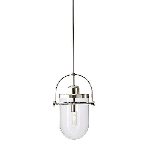 Lowell 10.75-inch 1-Light Pendant Chandelier with Clear Glass and Polished Nickel Finish