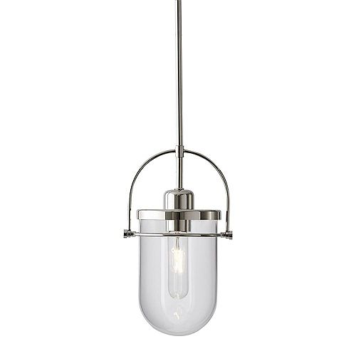 Lowell Small 6.5-inch 1-Light Pendant Chandelier with Clear Glass and Polished Nickel Finish