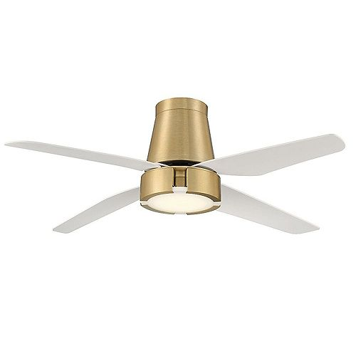Hugh 52-inch Indoor Ceiling Fan with LED Light in Brushed Brass with Remote Control