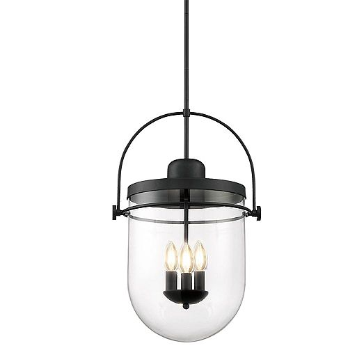 Lowell 14.75-inch 3-Light Pendant Chandelier with Clear Glass and Rich Black Finish