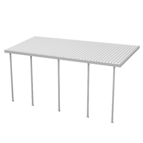 18 ft. W x 10 ft. D White Aluminum Attached Carport with 5 Posts (30 lbs. Roof Load)