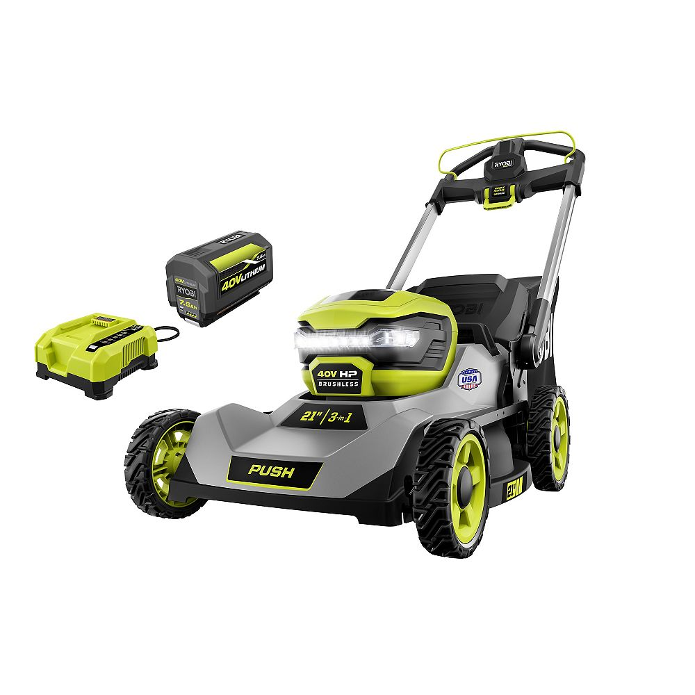 RYOBI 40V HP Brushless Cordless 21-inch Walk-Behind Lawn Mower Kit with 7.5 Ah Battery and Charger