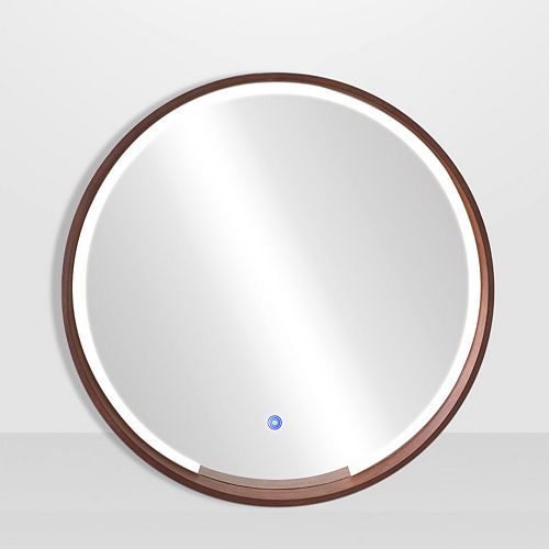 "The Tangerine Mirror Company DENMARK, ROUND WOOD LED MIRROR 32"" X 32"""