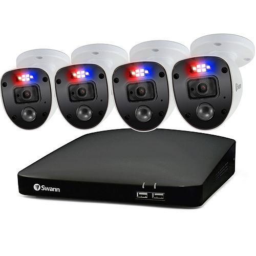 Système de sécurité DVR Enforcer 1080p HD 8 CN avec 4 caméras de sécurité à lumière clignotante rouge et bleu,SWDVK-846804SL