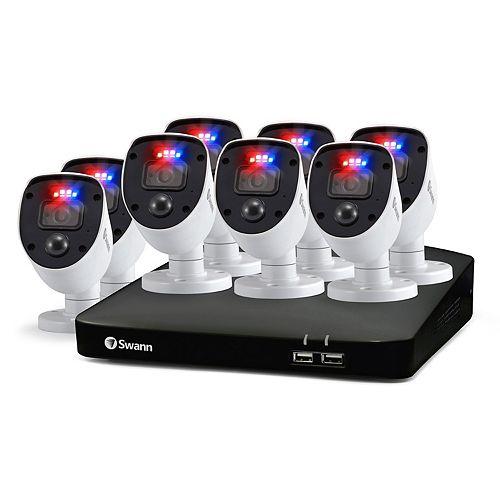 Système de sécurité DVR Enforcer 1080p HD 8 CN avec 8 caméras de sécurité à lumière clignotante rouge et bleu,SWDVK-846808SL