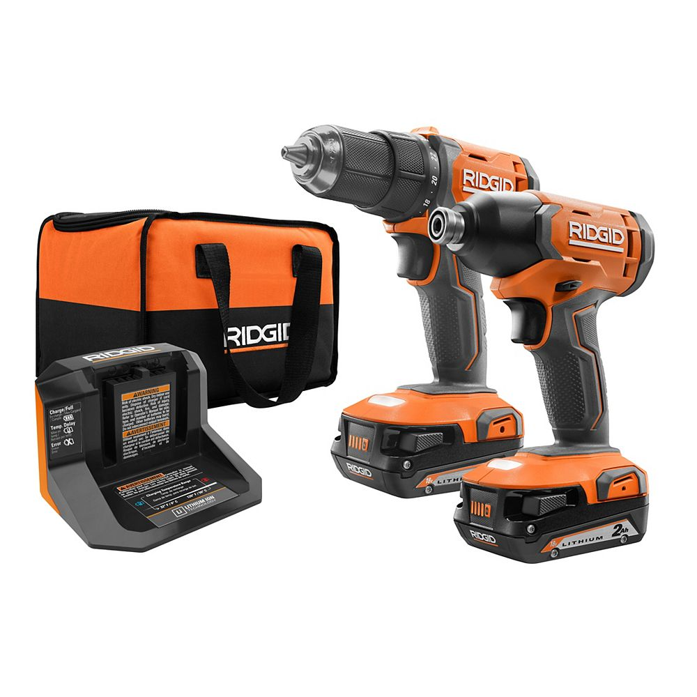 RIDGID 18V Lithium-Ion Cordless Drill/Driver & Impact Driver Combo Kit with (2) 2.0 Ah Batteries and Charger