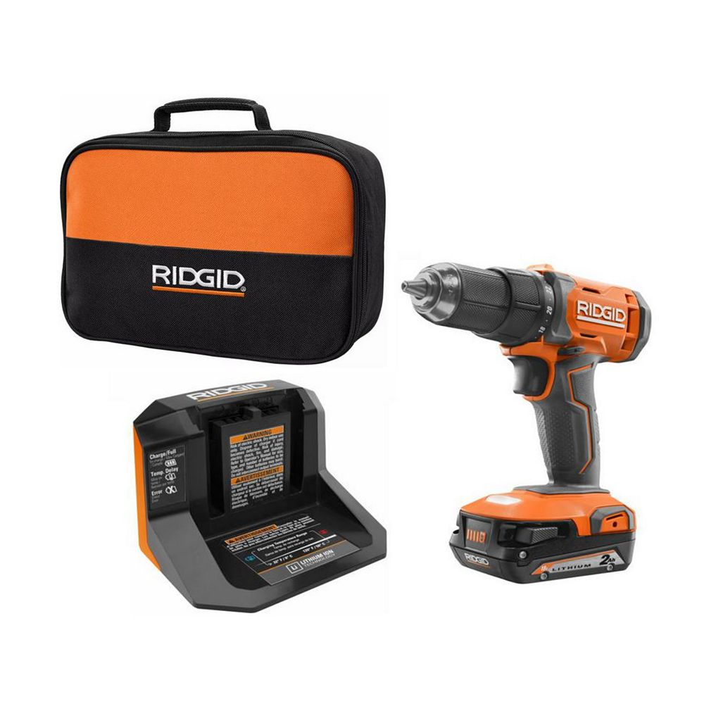 RIDGID 18V Lithium-Ion Cordless 1/2-inch Drill/Driver Kit with 18V 2.0 Ah Battery and Charger