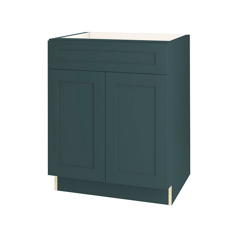 Thomasville Nouveau Rhett 27-inch W x 34.6-inch H x 24-inch D Shaker Style Assembled Kitchen Base Cabinet/Cupboard in Lagoon Blue with Adjustable Shelf/Soft Close Drawer (B27FWD)