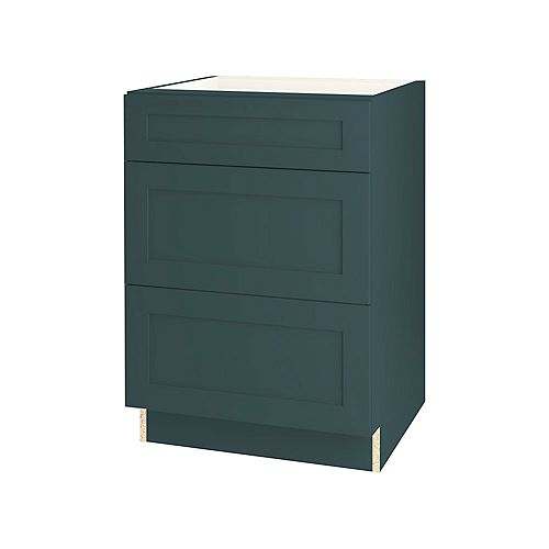 Rhett 24-inch W x 34.6-inch H x 24-inch D Shaker Style Assembled Kitchen Base Cabinet/Cupboard in Lagoon Blue with 3 Soft Close Drawers (BD243V)