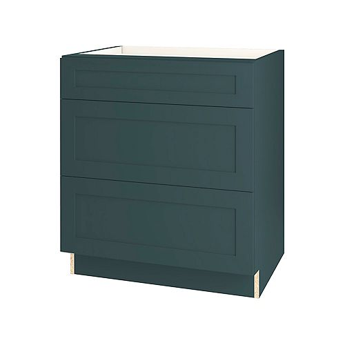 Rhett 30-inch W x 34.6-inch H x 24-inch D Shaker Style Assembled Kitchen Base Cabinet/Cupboard in Lagoon Blue with 3 Soft Close Drawers (BD303V)