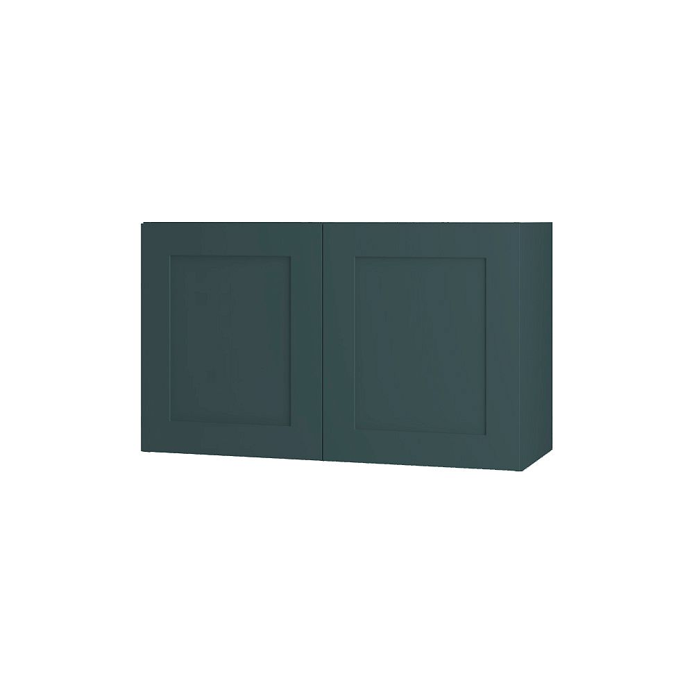 Thomasville Nouveau Rhett 30-inch W x 18-inch H x 11.75-inch D Shaker Style Assembled Kitchen Wall Cabinet/Cupboard in Lagoon Blue (W3018)