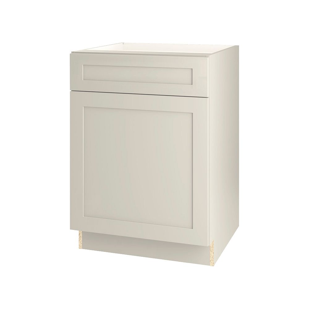 Thomasville Nouveau Rhett 24-inch W x 34.6-inch H x 24-inch D Shaker Style Assembled Kitchen Base Cabinet/Cupboard in Mortar Light Grey with Adjustable Shelf/Soft Close Drawer (B24L)