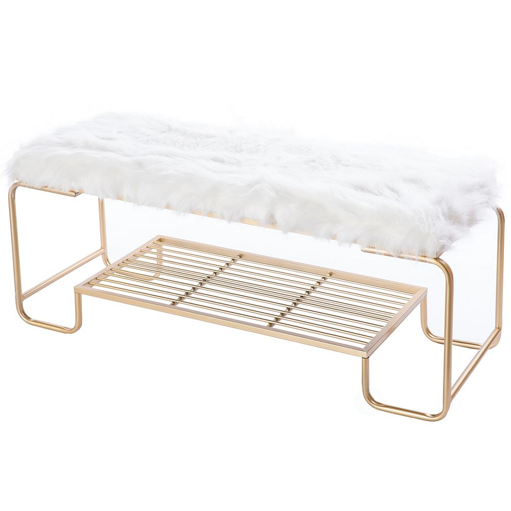 Bold Tones Rectangular Gold Metal Entryway Bench with White Fur Seat Top and Storage Shelf