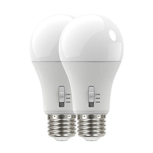 Éqv 100W 27-30-5000K A19 Ampoule DEL à intensité variable Paquet de 2