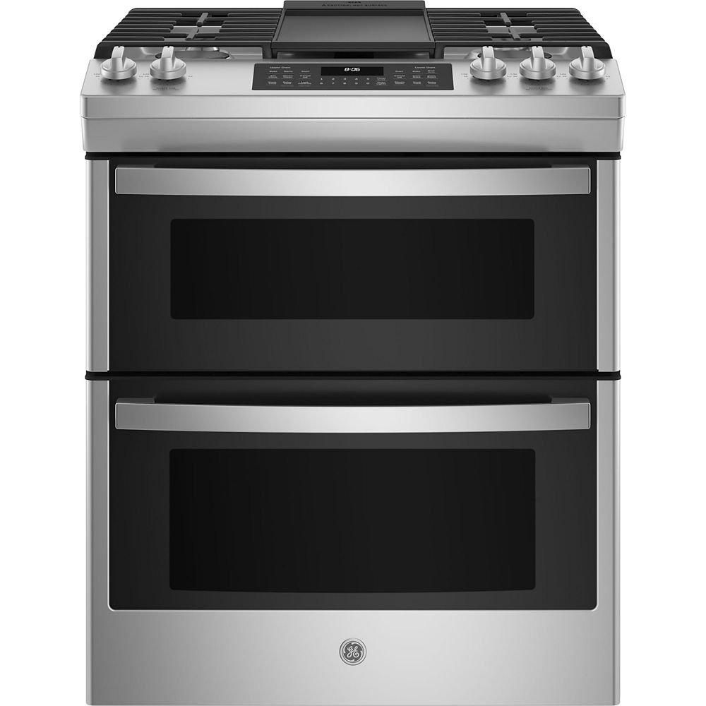 GE 30-inch Slide-In Double-Oven Gas Range in Stainless steel