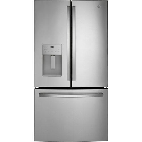 GE 25.6 Cu. Ft. Standard Depth French-Door Refrigerator in Fingerprint Resistant Stainless Steel