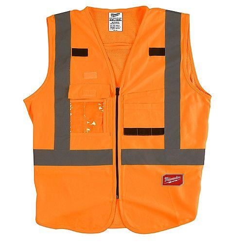 Gilet de sécurité orange haute visibilité - 4X/5X