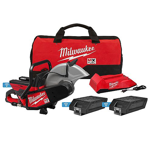 MX FUEL Lithium-Ion Cordless 14 -inch Cut Off Saw Kit with (2) Batteries and Charger