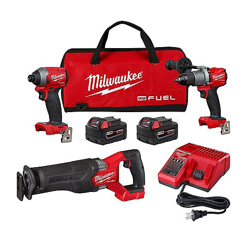 M18 FUEL 18V Lithium-Ion Brushless Cordless Combo Kit (3-Tool) w/ (2) 5.0 Ah Batteries & Charger