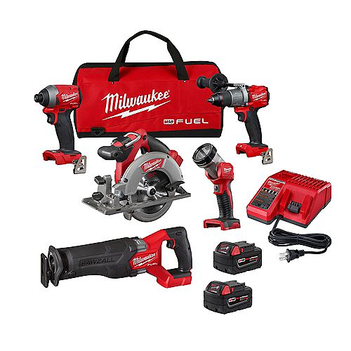 M18 FUEL 18V Lithium-Ion Brushless Cordless Combo Kit (5-Tool) w/ (2) 5.0 Ah Batteries & Charger