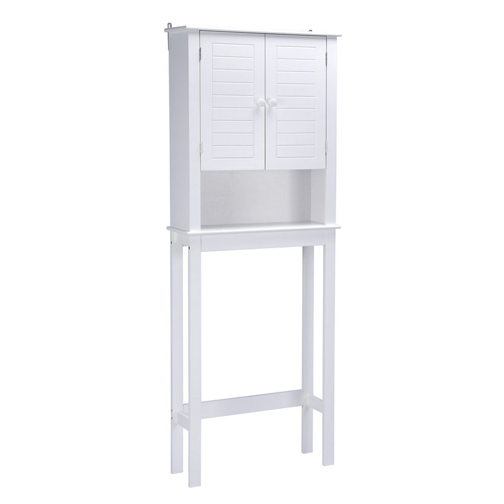 A&E Bath and Shower Cary V 24 inch W x 9 inch D x 63 inch H Over the Toilet Bath Storage Cabinet in White