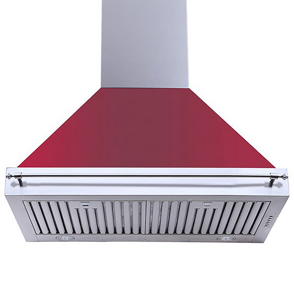Turin Milazzo Wall Mounted Range Hood 36 inch Red 900 CFM