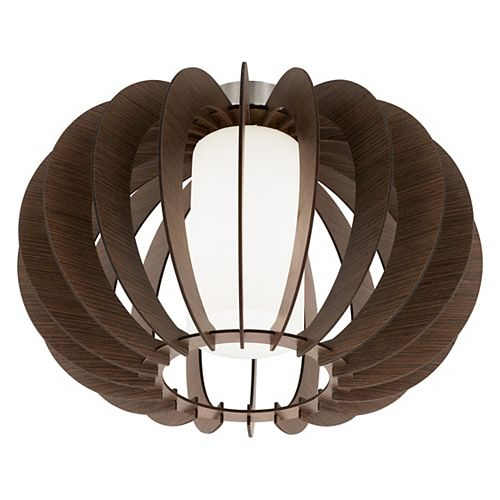 Stellato-3 Ceiling Light, Matte Nickel Finish with White Glass and Dark Brown Wood Shade
