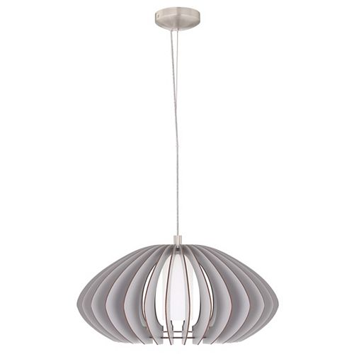 Stellato Colore Pendant Light (19.63 inch), Matte Nickel Finish with White Glass and Grey Wood Shade