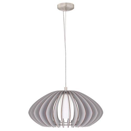 Stellato Colore Suspension 1L (19.63 po), finition nickel mat et verre blanc, abat-jour en bois gris
