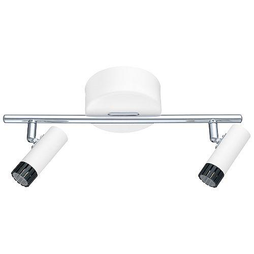 Lianello DEL luminaires sur rail 2 lumières, finition blanc, noir et chrome