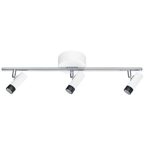 Lianello DEL luminaires sur rail 3 lumières, finition blanc, noir et chrome