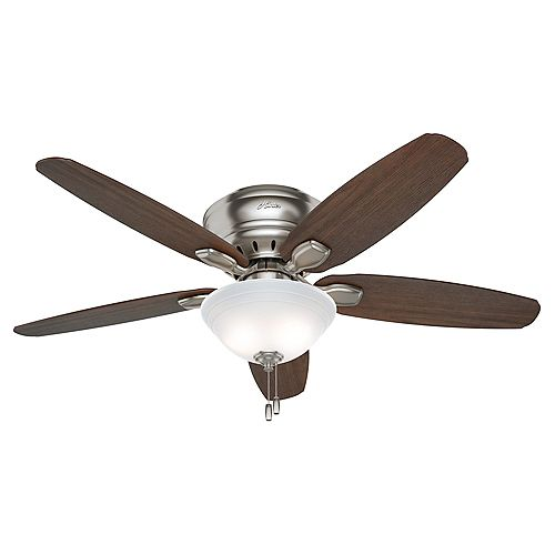 Fremont 52-inch Indoor Brushed Nickel Low Profile Ceiling Fan with Light