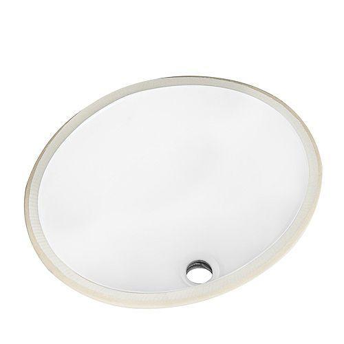 Oval 19 inch Undermount Sink in White