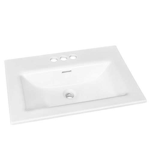 Rectangular Drop-in Sink with 4 inch Center Drilling in White