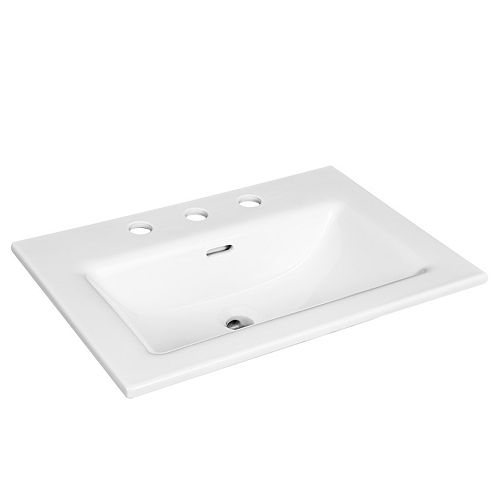 Rectangular Drop-in Sink with 8 inch Center Drilling in White