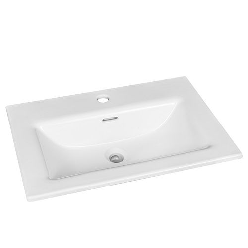 Rectangular Drop-in Sink with Single Hole Drilling in White