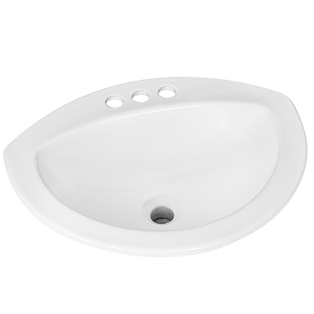 Glacier Bay Semi Oval Drop In Sink With, Drop In Oval Bathroom Sinks