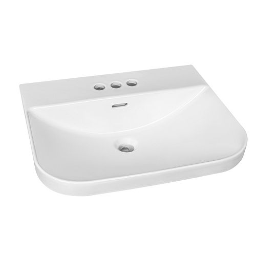 Semi-Recessed Rectangular Drop-in Sink with 4 inch Center Drilling in White