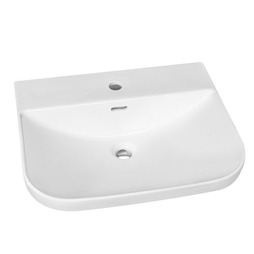Semi-Recessed Rectangular Drop-in Sink with Single Hole Drilling in White
