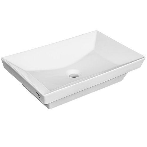 Semi-Recessed Rectangular Vessel Sink in White