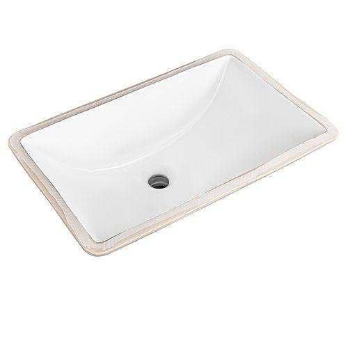Square 21.5 inch Undermount Sink in White