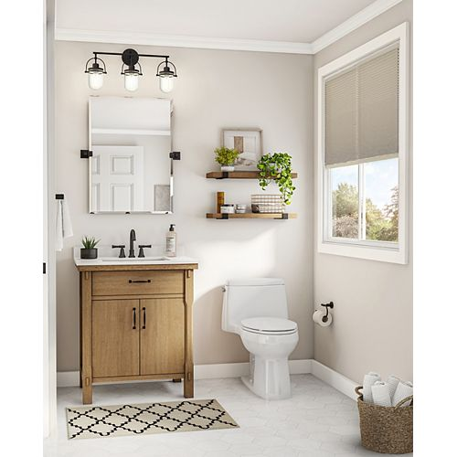 Bellington 30 in. Vanity in Almond Toffee with Engineered Stone Vanity Top in White with White Basin