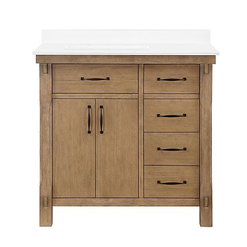 Bellington 36 in. Vanity in Almond Toffee with Engineered Stone Vanity Top in White with White Basin