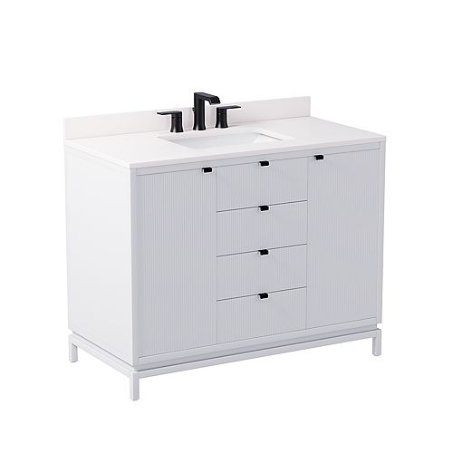 Beaumont 42-inch W x 21-inch D Freestanding Bath Vanity in White with White Engineered Marble Top and White Sink