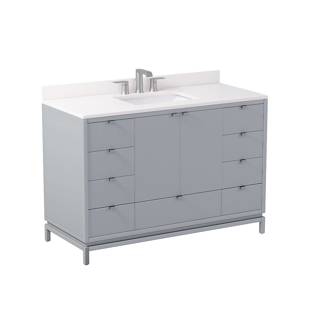 GLUCKSTEINELEMENTS Beaumont 48 in. W x 21 in. D x 34 in. H Freestanding Bath Vanity in Gray with Engineered Marble Top in White with White Sink
