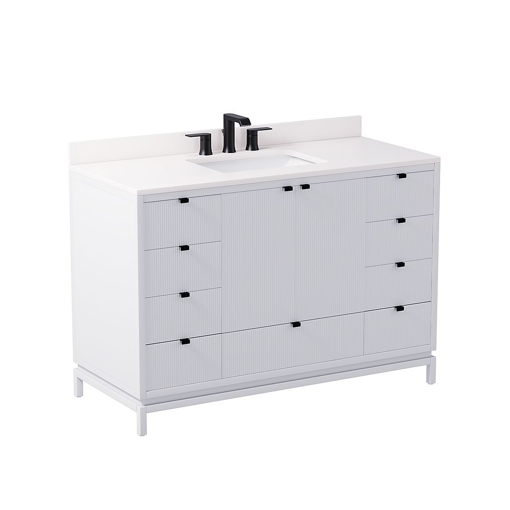 GLUCKSTEINELEMENTS Beaumont 48 in. W x 21 in. D x 34 in. H Freestanding Bath Vanity in White with Engineered Marble Top in White with White Sink