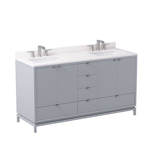 Beaumont 60-inch W x 21-inch D Freestanding Bath Vanity in Grey with White Engineered Marble Top and White Sink