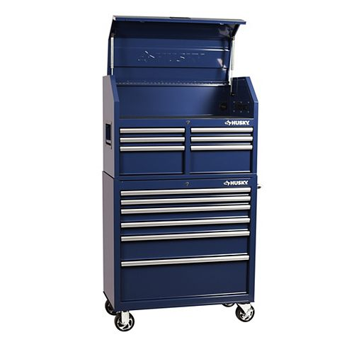 36-inch W x 18.3-inch D 12-Drawer Tool Chest and Rolling Cabinet Combo in Blue