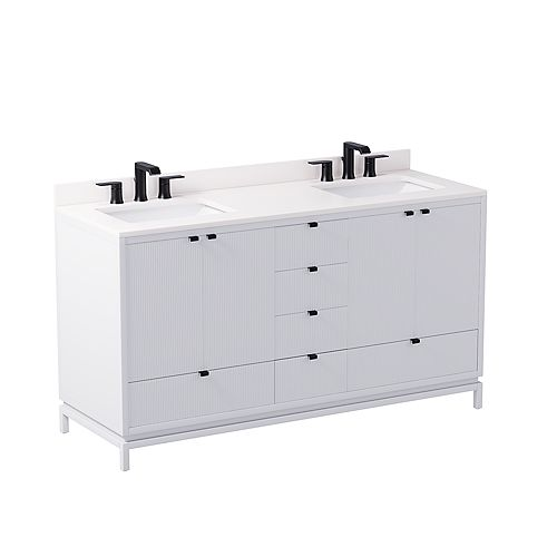 GlucksteinElements Beaumont 60-inch W x 21-inch D Freestanding Bath Vanity in White with White Engineered Marble Top and White Sink