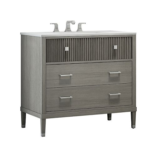 Somerset 36-inch W x 21-inch D Freestanding Bath Vanity in Grey with White Engineered Marble Top and White Sink